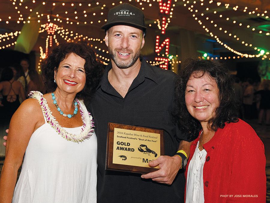 Diane Woodburn, Morimoto Maui Chef Greg Harrison, and Becky Speere