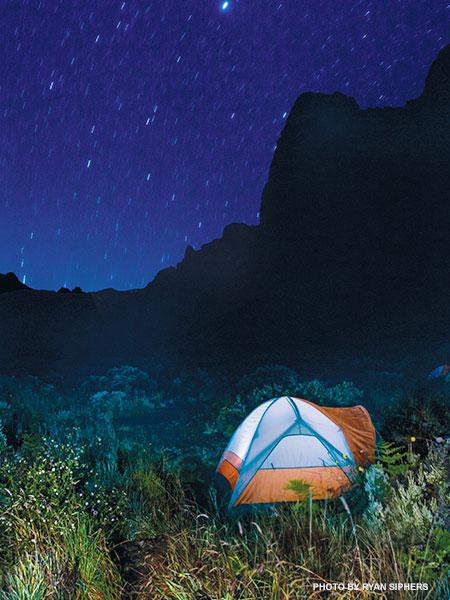 Haleakala Crater camping night sky stars