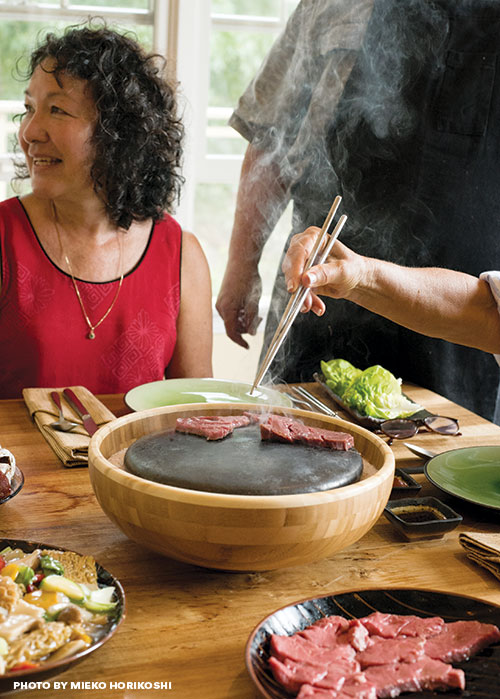 hot stone beef cooking
