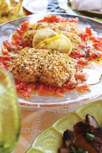 mac nut crusted mahimahi
