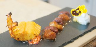 roasted pineapple rack with bananas and sorbet