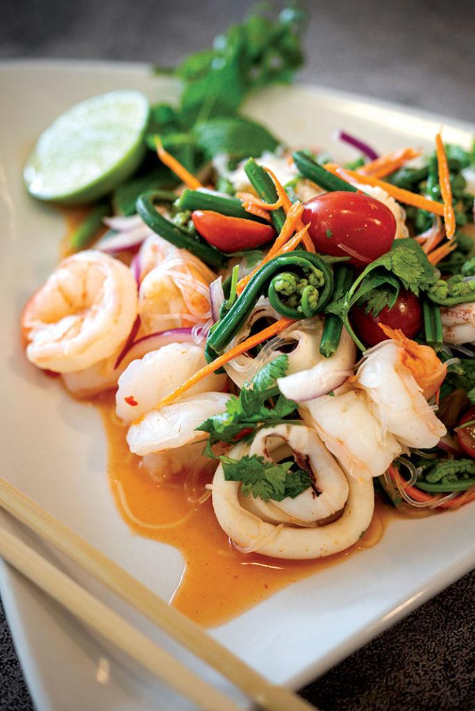 Pohole and shrimp salad