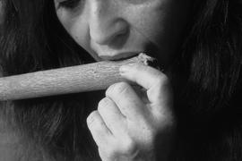 Pua loosens the bark with her teeth to gain a fingerhold.