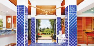 blue pool tile sunken tub shower