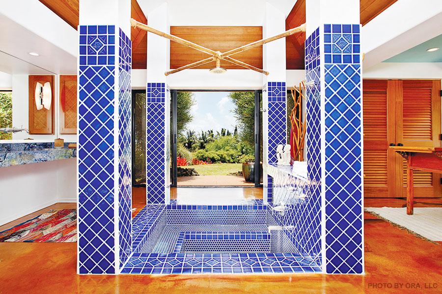 blue pool tile sunken tub shower