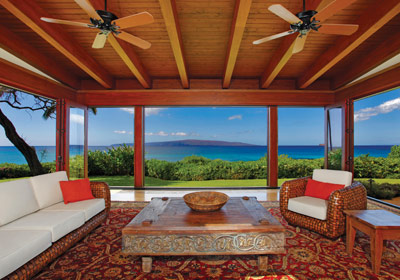 Asian wool rugs in Maui beach house