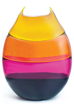 pink, orange, yellow glass vase