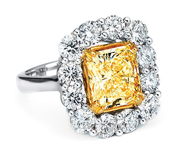 yellow diamond ring, greenleaf diamonds