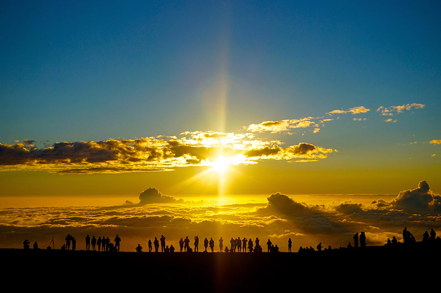haleakala sunset silhouettes