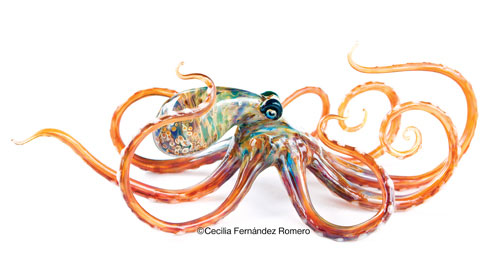 handblown glass octopus