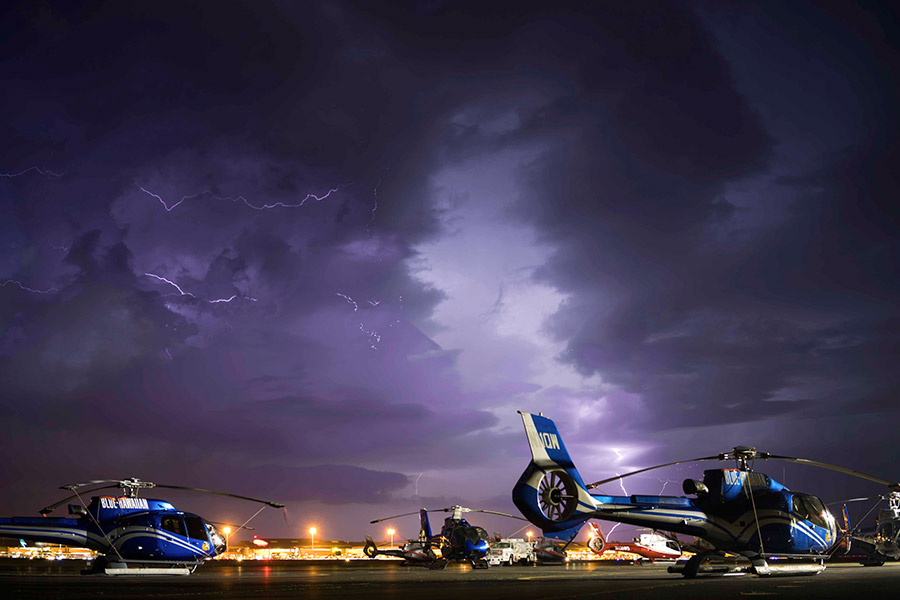 helicopter lighting storm maui