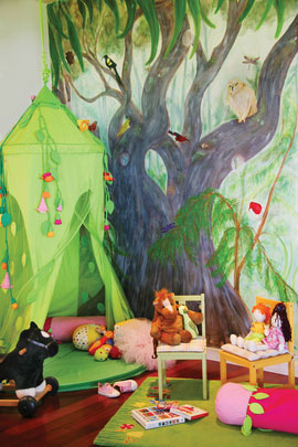 "A fanciful mural and ""fairy tent"" create the perfect setting for little girls and other enchanted beings."