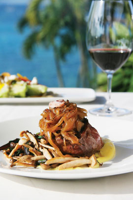 Ninety percent of the produce served at Merriman's is local, like this Maui Cattle Company special topped with Makawao mushrooms.