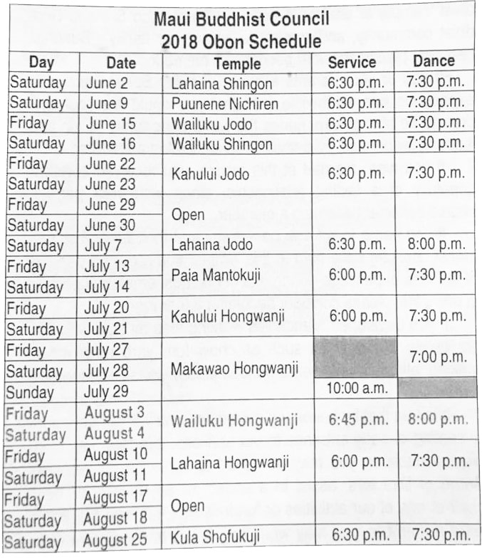 maui obon schedule 2018