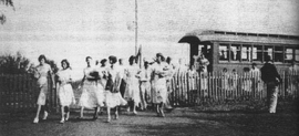 In the 1920s and 1930s, students arrived at school courtesy of the Kahului Railroad.