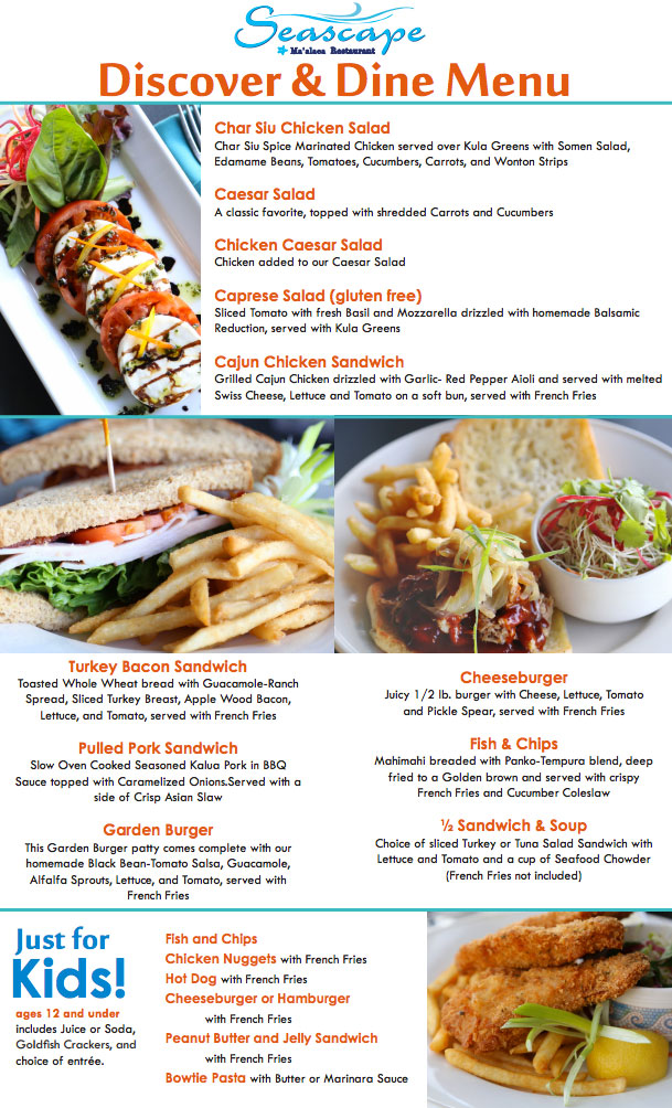 lunch menu special at Maui Ocean Center