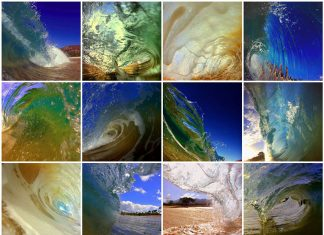 maui ocean waves collage